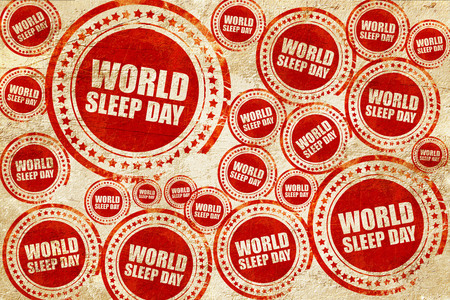 snore: world sleep day, red stamp on a grunge paper texture Stock Photo