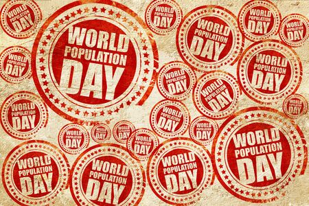 observance: world population day, red stamp on a grunge paper texture Stock Photo