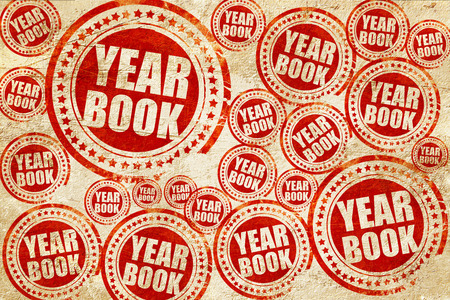 yearbook: yearbook, red stamp on a grunge paper texture