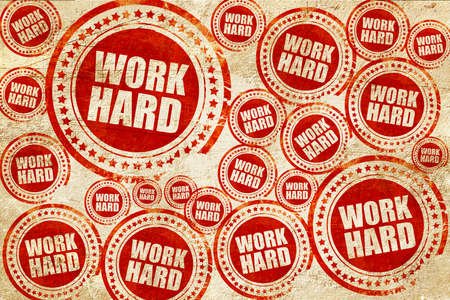 careerist: work hard, red stamp on a grunge paper texture Stock Photo