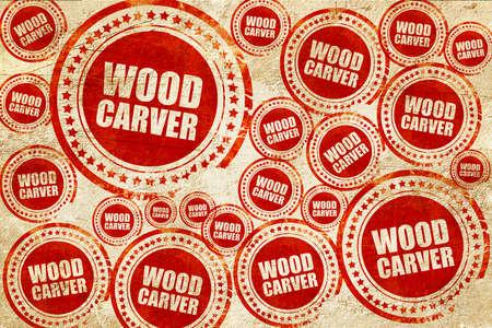 trinchante: tallador de madera, sello rojo en una textura de papel de grunge