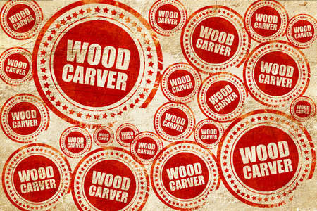 trinchante: wood carver, red stamp on a grunge paper texture