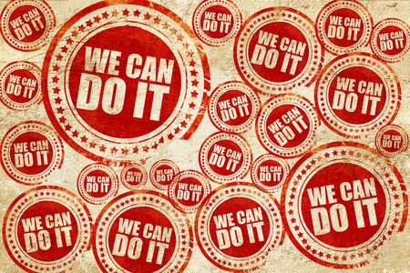 suffrage: we can do it, red stamp on a grunge paper texture Stock Photo