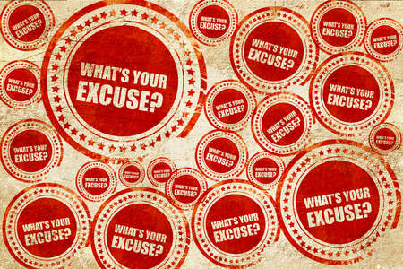 pardon: whats your excuse, red stamp on a grunge paper texture