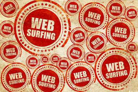 web surfing: web surfing, red stamp on a grunge paper texture