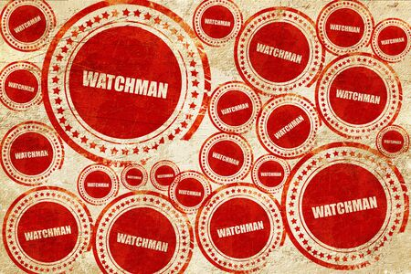 watchman: watchman, red stamp on a grunge paper texture Stock Photo