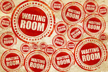 healthcare visitor: waiting room, red stamp on a grunge paper texture Stock Photo