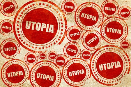 utopia: utopia, red stamp on a grunge paper texture