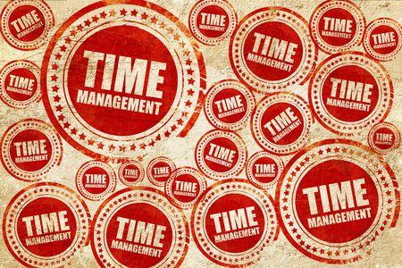 gestion du temps, timbre rouge sur une texture de papier grunge