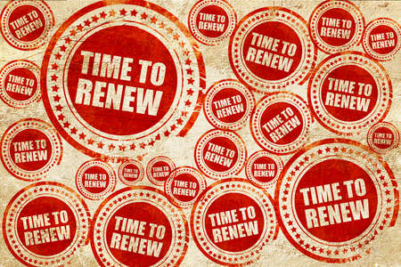resubscribe: time to renew, red stamp on a grunge paper texture