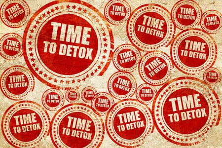 toxins: time to detox, red stamp on a grunge paper texture