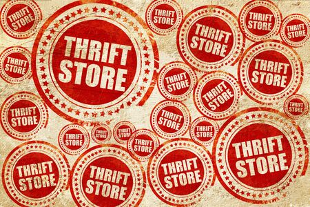 thrift: thrift store, red stamp on a grunge paper texture