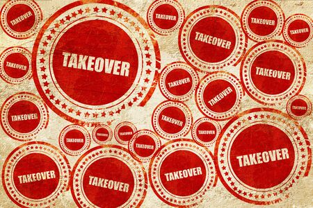 company merger: takeover, red stamp on a grunge paper texture