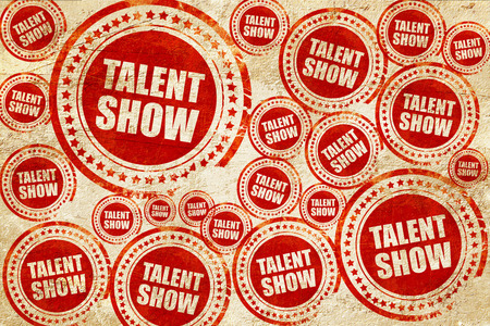 talent show, red stamp on a grunge paper texture 版權商用圖片
