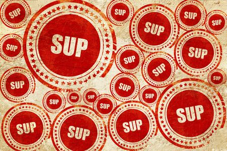 sup: sup internet slang with some soft smooth lines, red stamp on a grunge paper texture