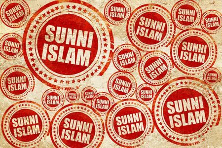 sunni: sunni islam, red stamp on a grunge paper texture Stock Photo