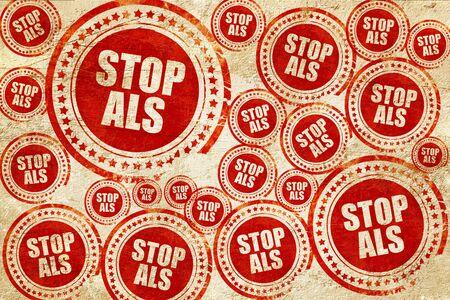 als: stop als, red stamp on a grunge paper texture