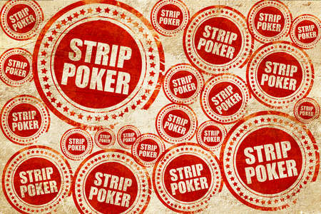 strip club: strip poker, red stamp on a grunge paper texture Stock Photo