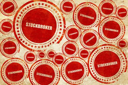 stockbroker: stockbroker, red stamp on a grunge paper texture Stock Photo