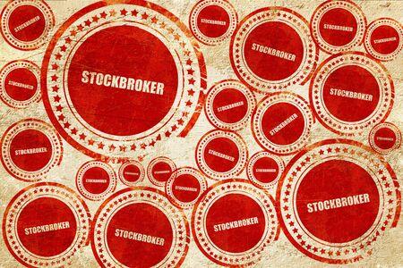 stockbroker: stockbroker, red stamp on a grunge paper texture Stock Photo