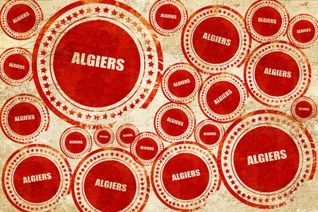 algiers: algiers, red stamp on a grunge paper texture