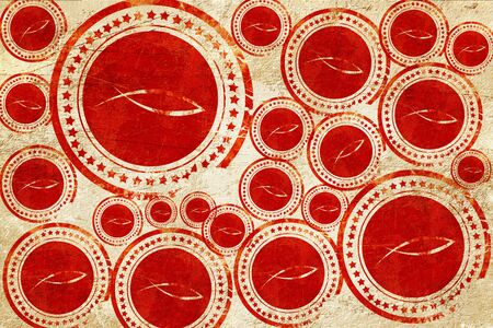 pez cristiano: s�mbolo cristiano de los pescados con unas l�neas suaves suaves, sello rojo en una textura de papel de grunge