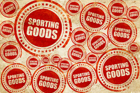 sporting goods: sporting goods, red stamp on a grunge paper texture Stock Photo