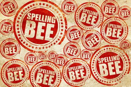 spelling bee, red stamp on a grunge paper texture Stock Photo