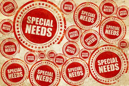 special needs: special needs, red stamp on a grunge paper texture