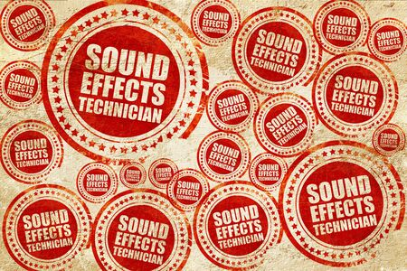 fader: sound effects technician, red stamp on a grunge paper texture Stock Photo