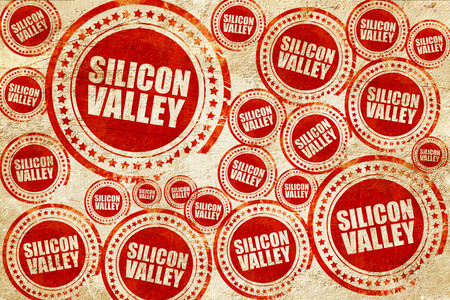 silicon: silicon valley, red stamp on a grunge paper texture