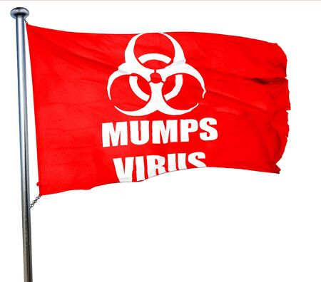 mumps: Mumps virus concept background with some soft smooth lines, 3D rendering, a red waving flag
