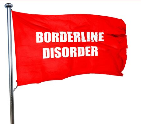 borderline: Borderline sign background with some soft smooth lines, 3D rendering, a red waving flag Stock Photo