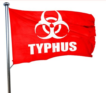 typhus: Typhus concept background with some soft smooth lines, 3D rendering, a red waving flag Stock Photo