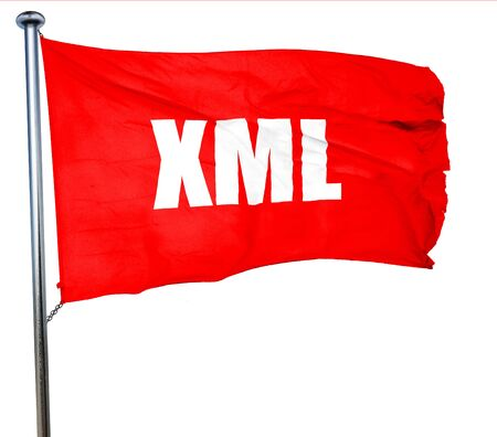 xml: xml, 3D rendering, a red waving flag