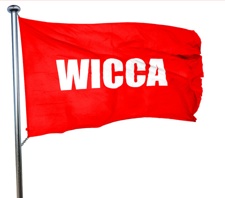 wicca: wicca, 3D rendering, a red waving flag