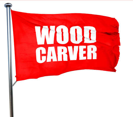 wood carving 3d: wood carver, 3D rendering, a red waving flag Stock Photo