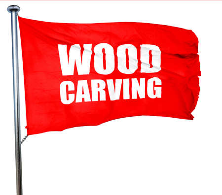 wood carving 3d: wood carving, 3D rendering, a red waving flag Stock Photo