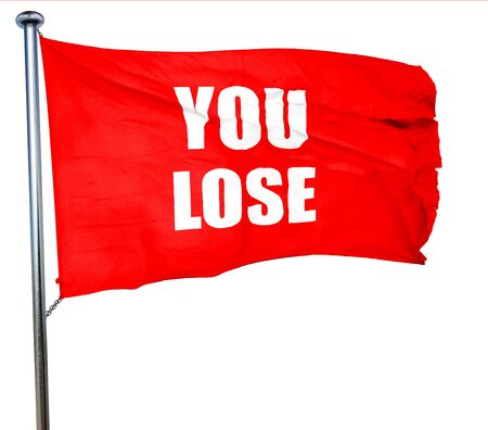 jobless: you lose, 3D rendering, a red waving flag