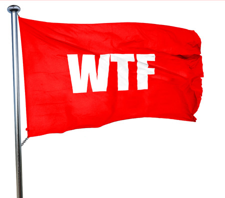 wtf: wtf internet slang with some soft smooth lines, 3D rendering, a red waving flag Stock Photo
