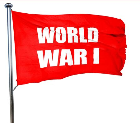 world war 1: World war 1 background with some smooth lines, 3D rendering, a red waving flag