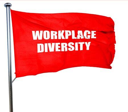 competitividad: workplace diversity, 3D rendering, a red waving flag Foto de archivo