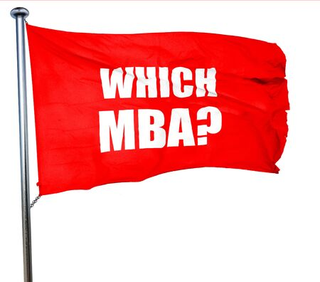 mba: which mba, 3D rendering, a red waving flag Stock Photo