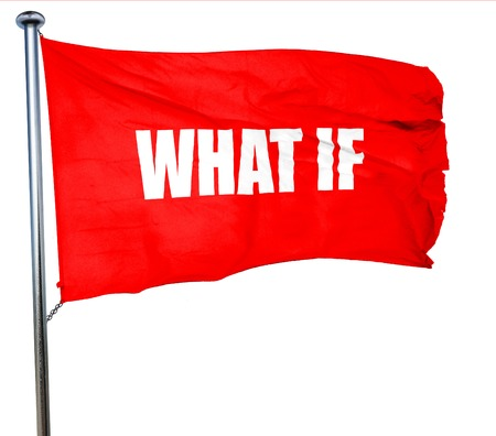 skepticism: what if, 3D rendering, a red waving flag Stock Photo
