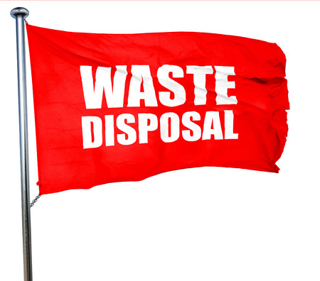 waste disposal: waste disposal, 3D rendering, a red waving flag
