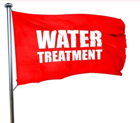 isolation tank: water treatment, 3D rendering, a red waving flag
