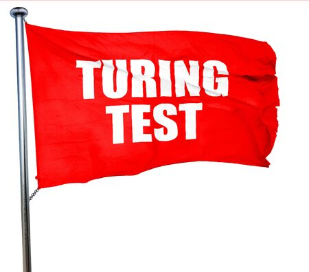 thinking machines: turing test, 3D rendering, a red waving flag Stock Photo