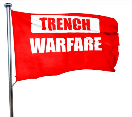 one armed: trench warfare sign with some soft lines, 3D rendering, a red waving flag Stock Photo