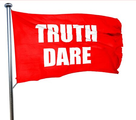 dare: truth or dare, 3D rendering, a red waving flag