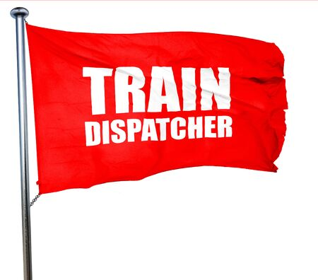isolation tank: train dispatcher, 3D rendering, a red waving flag Stock Photo